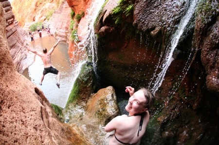 Jumping into the pool at Elves Chasm, Colorado River