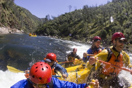 Paddle rafting at it's best on the steep creeks in California.