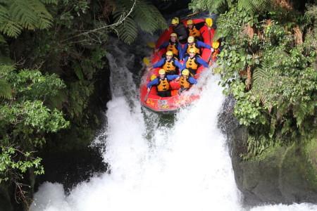 The 7 metre drop of Tutea Falls, Kaituna River, New Zealand.