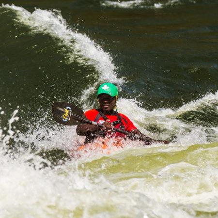 Lovemore doing what he loves best, kayaking The Zambezi