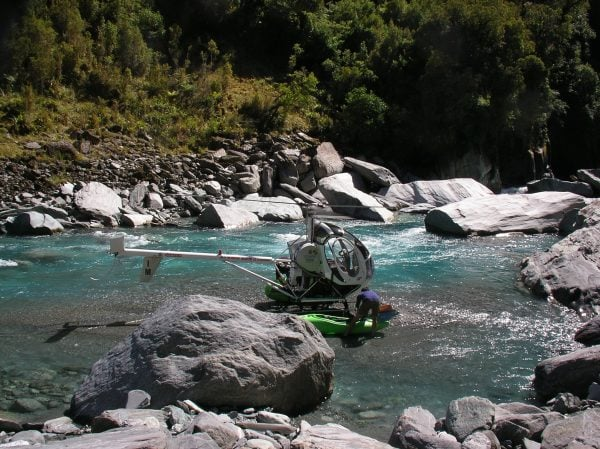 No better way to start paddling than flying by helicopter into the river.