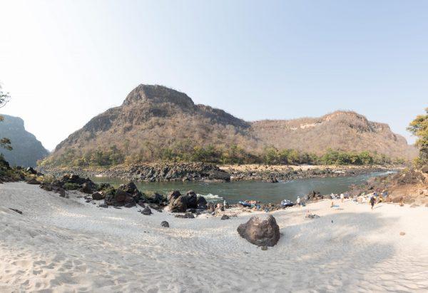 A view across to Zimbabwe from Zambia. No 'Hard Border' here on the Zambezi