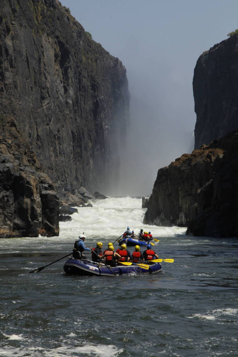 Image of raft under Victoria Falls